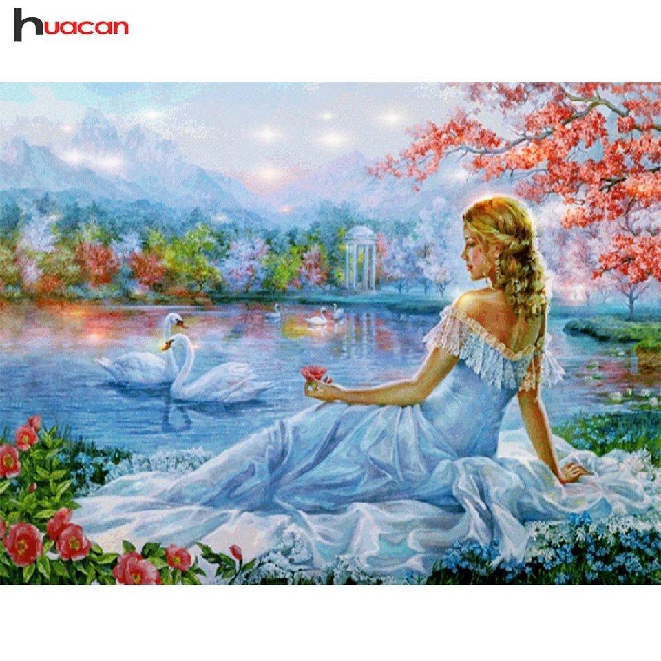 Diamanttavla Woman And Swans 40x50