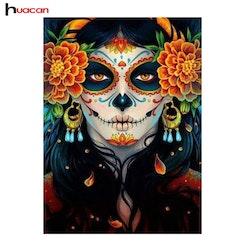 Diamanttavla Skull Flower Face 30x40