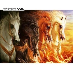 Diamanttavla Four Horses 40x50
