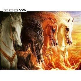 Diamanttavla Four Horses 40x50