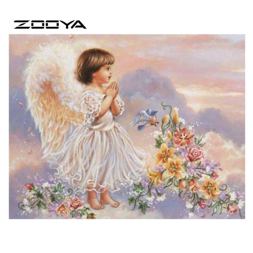 Diamanttavla (R) Angelgirl And Flowers 40x50