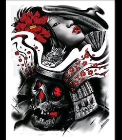 Diamanttavla Geisha And Skull 40x50