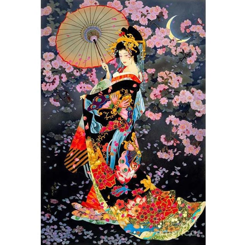 Diamanttavla Geisha With Umbrella 50x60