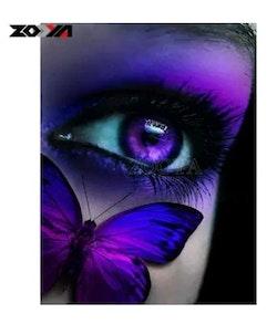 Diamanttavla Purple Butterfly Eye 40x50