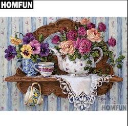 Diamanttavla Flowers And Cups 40x50