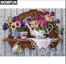 Diamanttavla Flowers And Cups 40x50