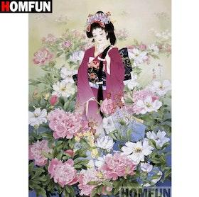 Diamanttavla Geisha Peony 40x50
