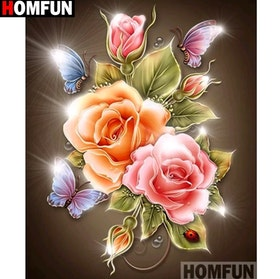 Diamanttavla (R) Butterfly Flower 40x50