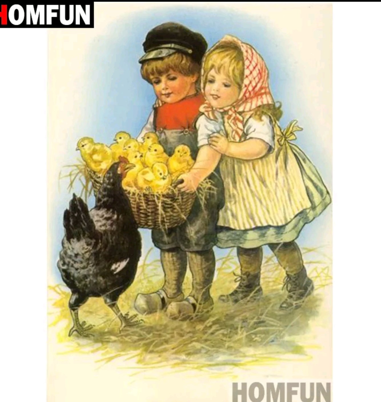 Diamanttavla Barn Med Kycklingar 40x50