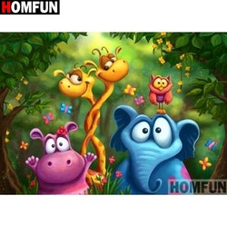 Diamanttavla Cartoon Djungel Animals 30x40