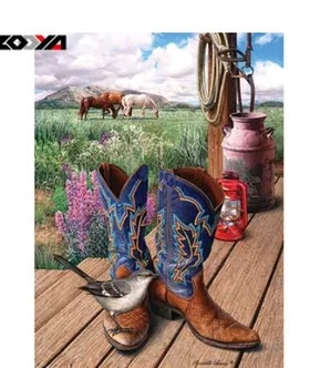 SNART I BUTIK - Diamanttavla Boots 40x50
