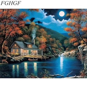 Paint By Numbers Cabin In Moonlight 40x50