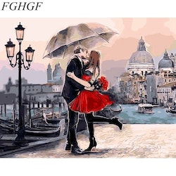 Paint By Numbers Kiss Under Umbrella 40x50