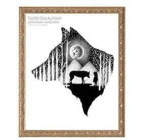 Diamanttavla Wolf Black And White 40x50