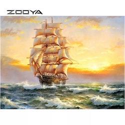 Diamanttavla (R) Ship In Sunset 40x50