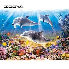 Diamanttavla (R) Dolphins In The Sea 40x50