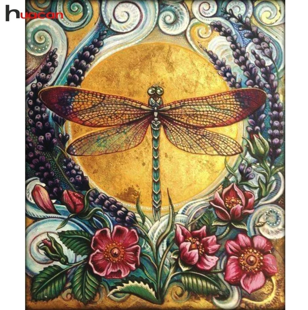 Diamanttavla (R) Dragonfly Flowers 40x50.