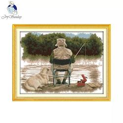 Korsstygnsbroderi Fishing 66x52