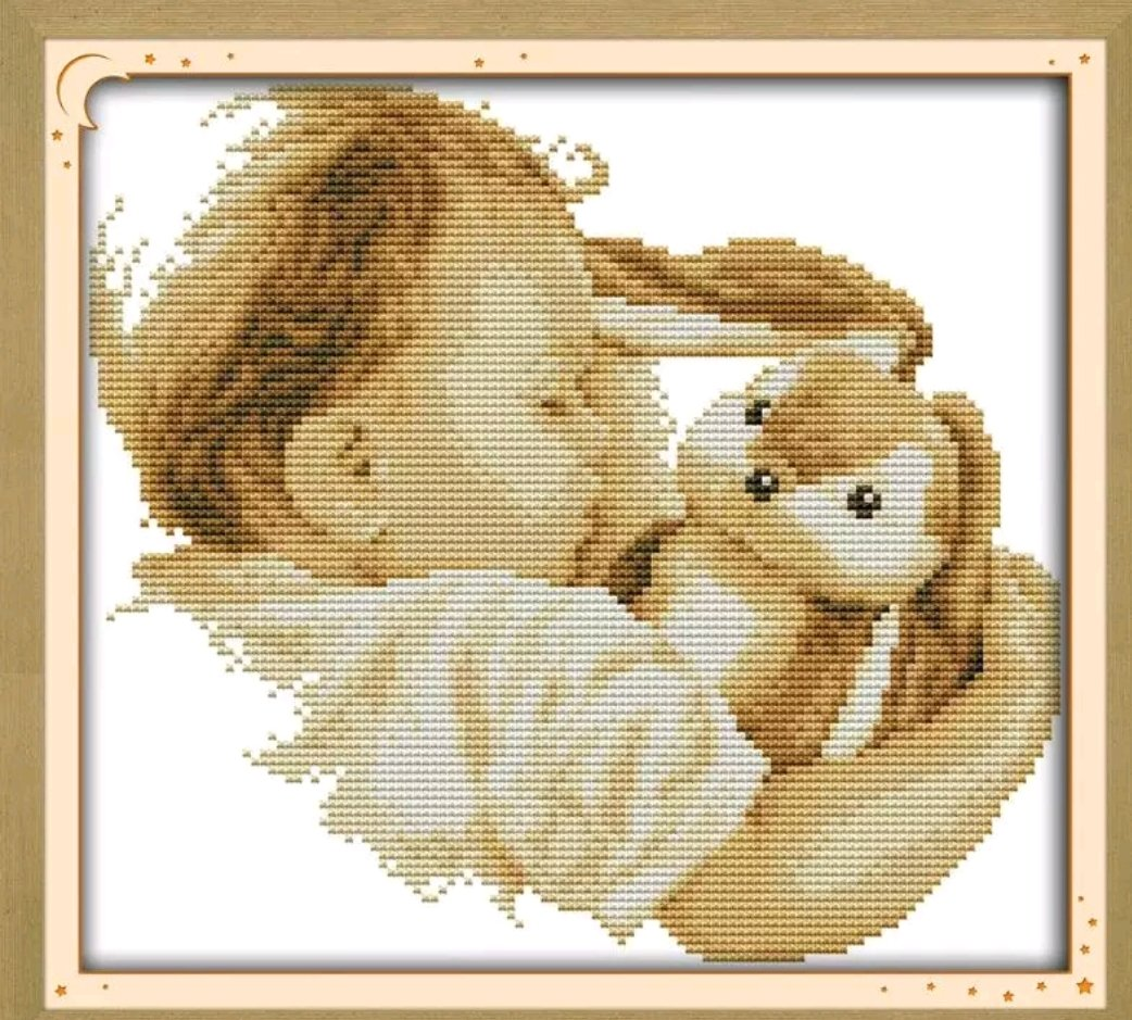 Korsstygnsbroderi Baby And Rabbit 36x33