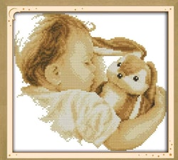 Korsstygnsbroderi Baby And Rabbit 36x33