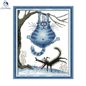 Korsstygnsbroderi Blue Cat And Dog 27x33