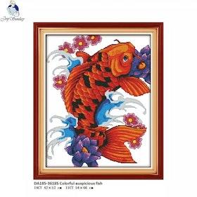 Korsstygnsbroderi Auspicious Fish 54x66