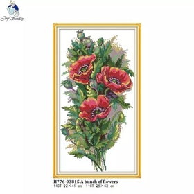 Korsstygnsbroderi Bunch Of Poppy  28x52