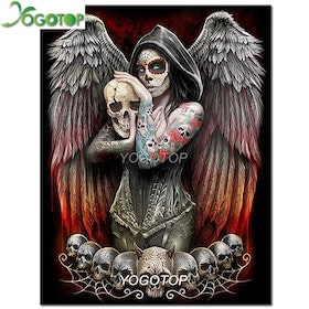 Diamanttavla Skull Angel 40x50