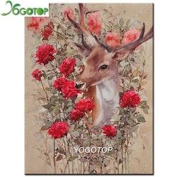 Diamanttavla Deer Roses 40x50