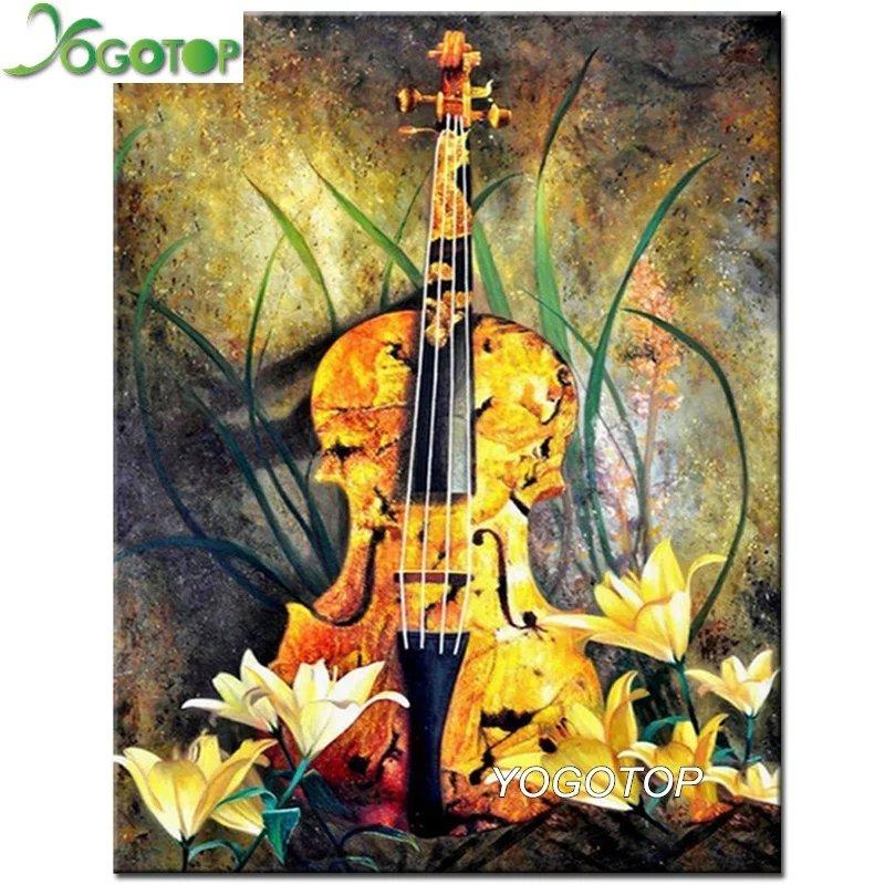 Diamanttavla Violins And Flowers 40x50