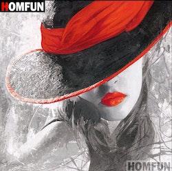 SNART I BUTIK - Diamanttavla (R) Girl In Red Hat 40x40