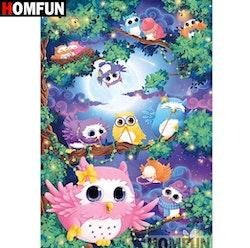 SNART I BUTIK - Cartoon Owls 40x50