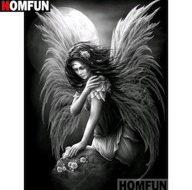 Diamanttavla Angel And Moon 40x50