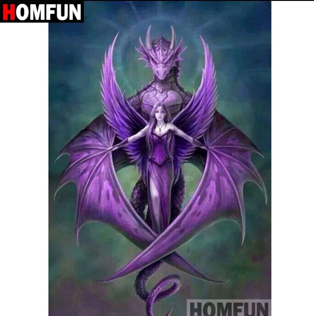 Diamanttavla Purple Dragon And Angel 30x40