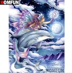 Diamanttavla (R) Dolphin And Fairy 40x50