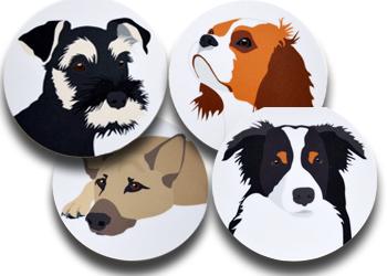 Coaster 4 olika hundar/set, 4 frp