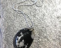 Halsband med snowflakeobsidian