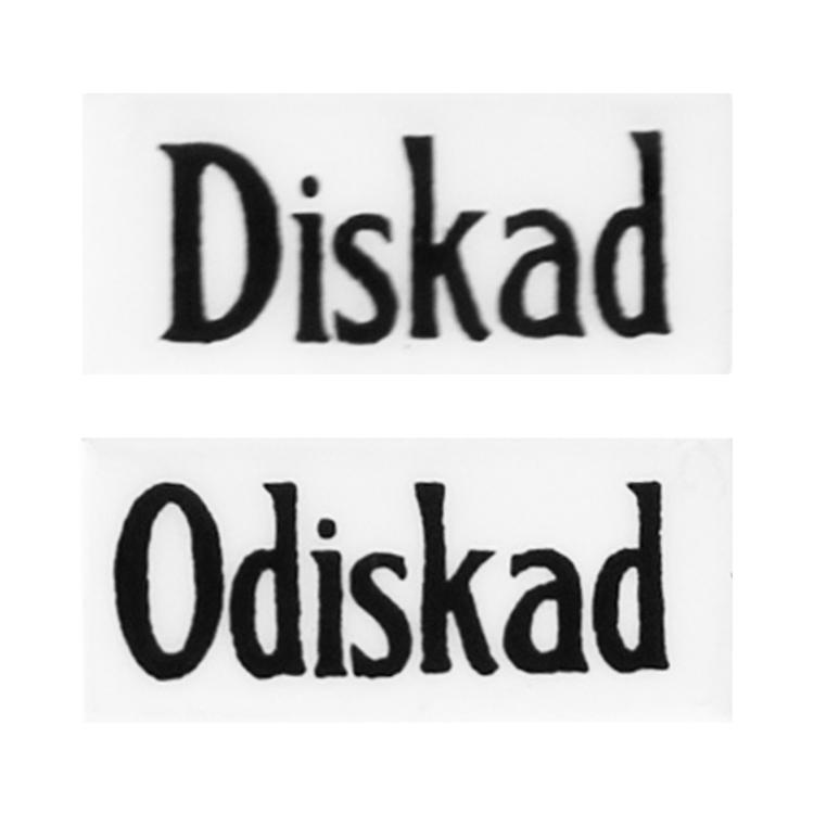 Emaljskyld Diskad/Odiskad