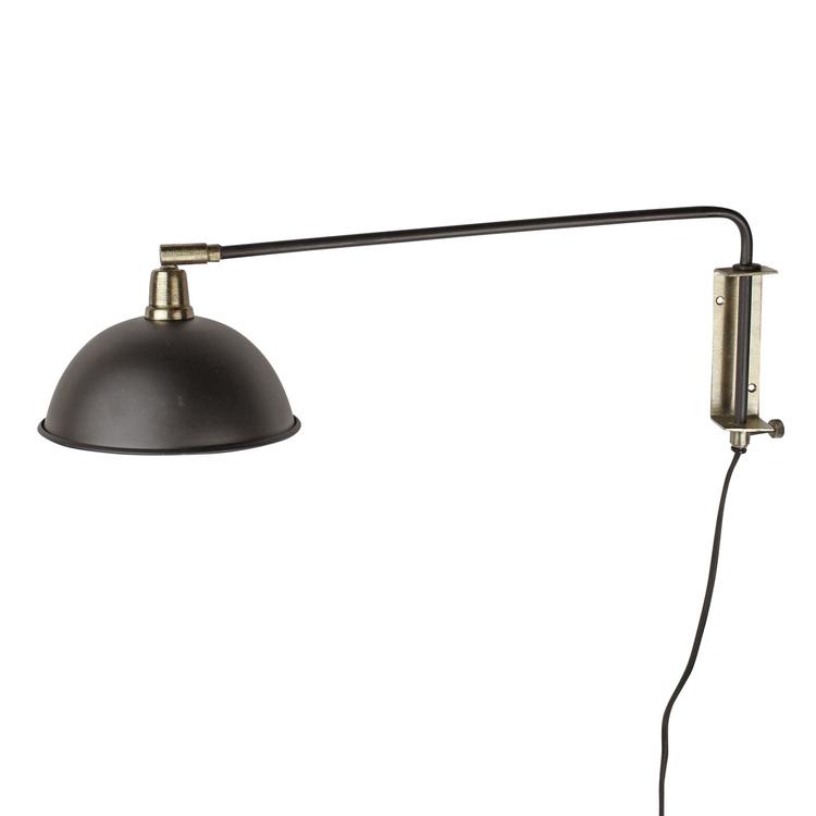 Vägglampa Arm Svart/Mässing