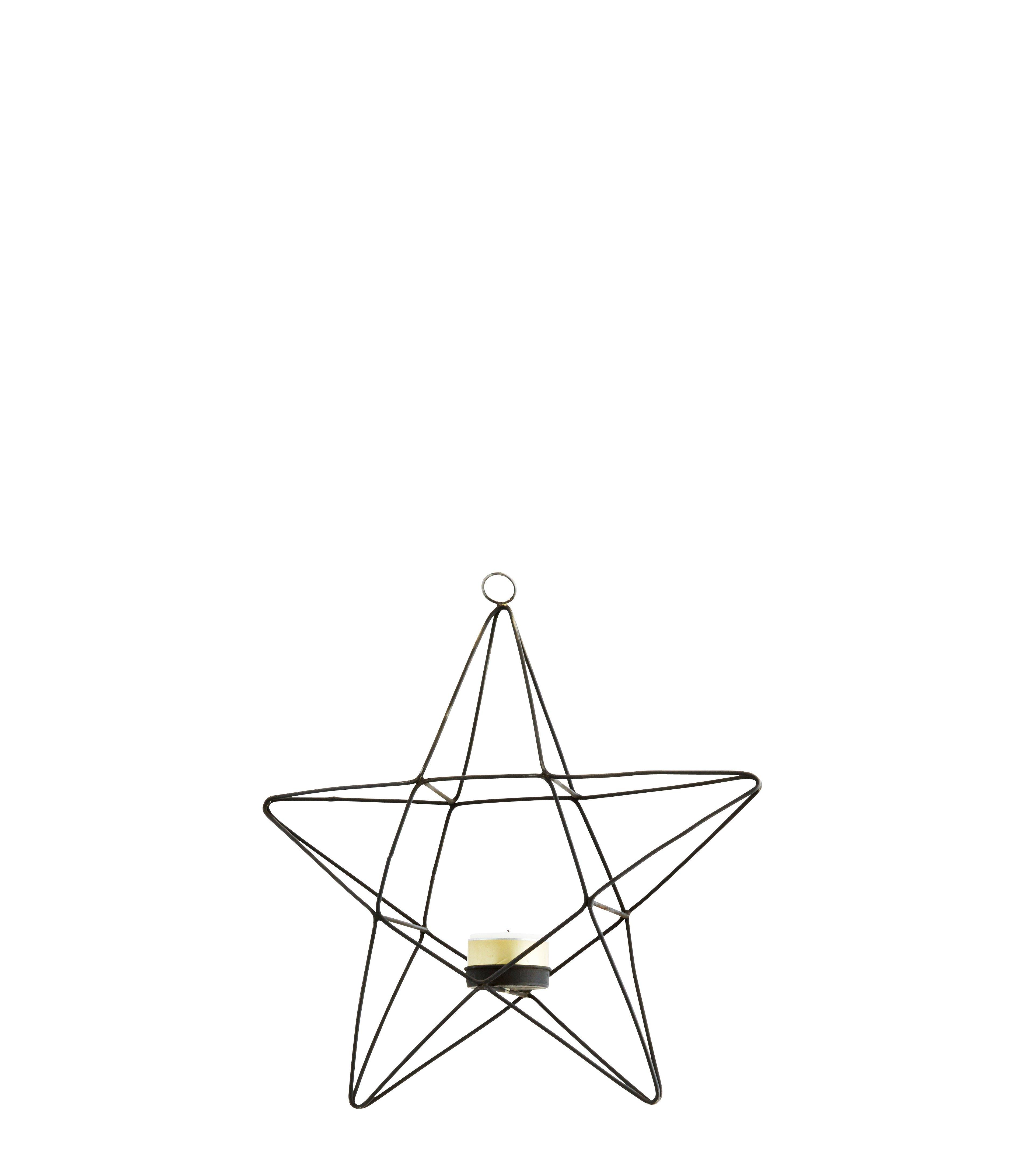 Hängande värmeljushållare stjärna svart