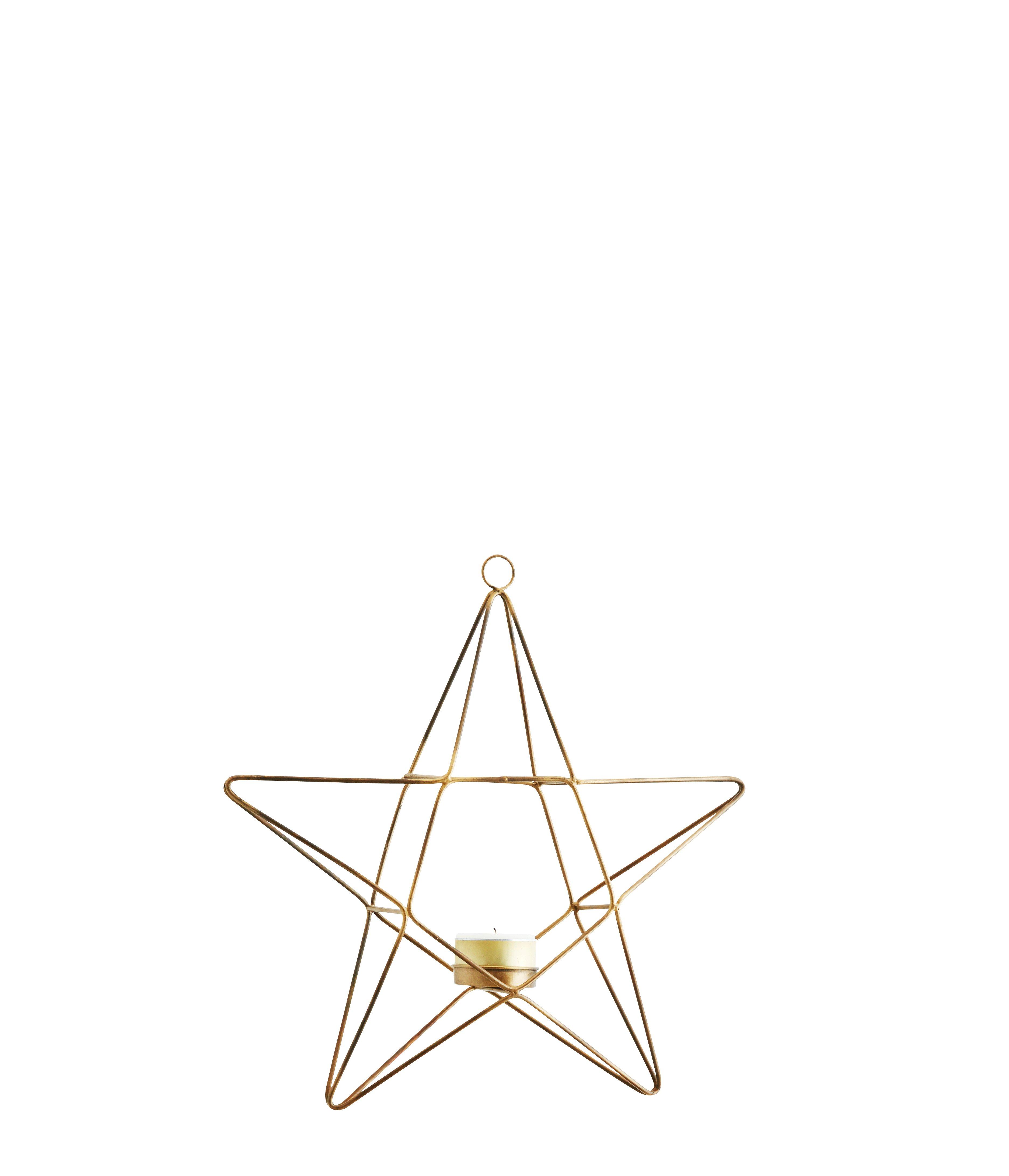 Hängande värmeljushållare stjärna antik mässing stor