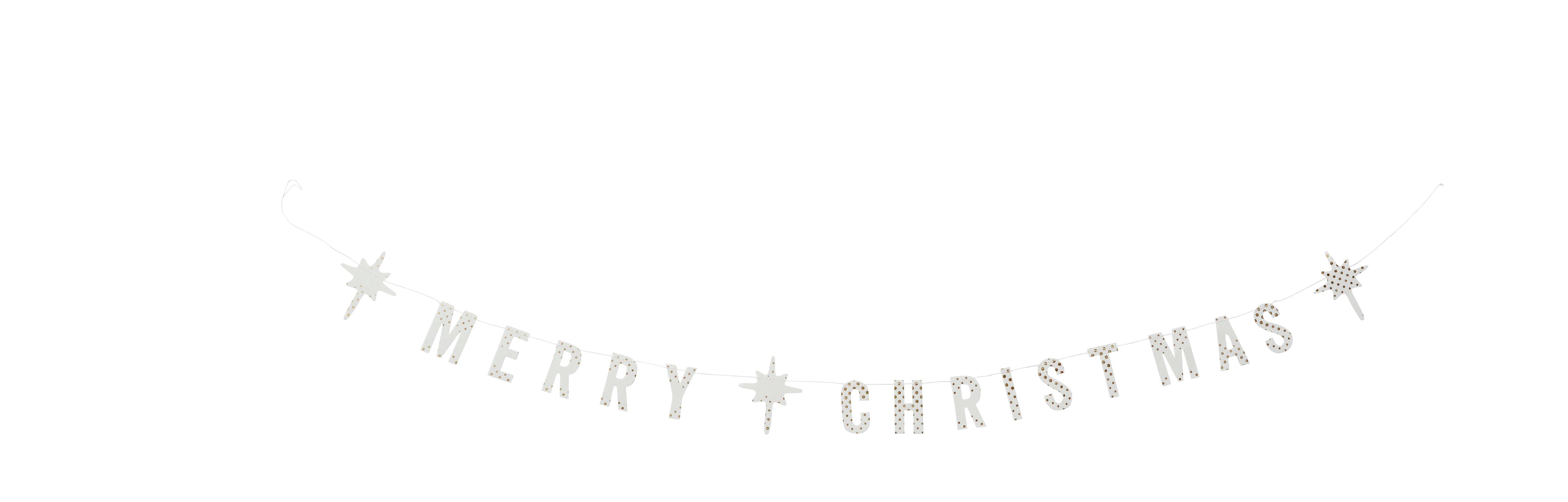 """""""Merry Christmas"""" girlang i vitt med prickar i guld"""