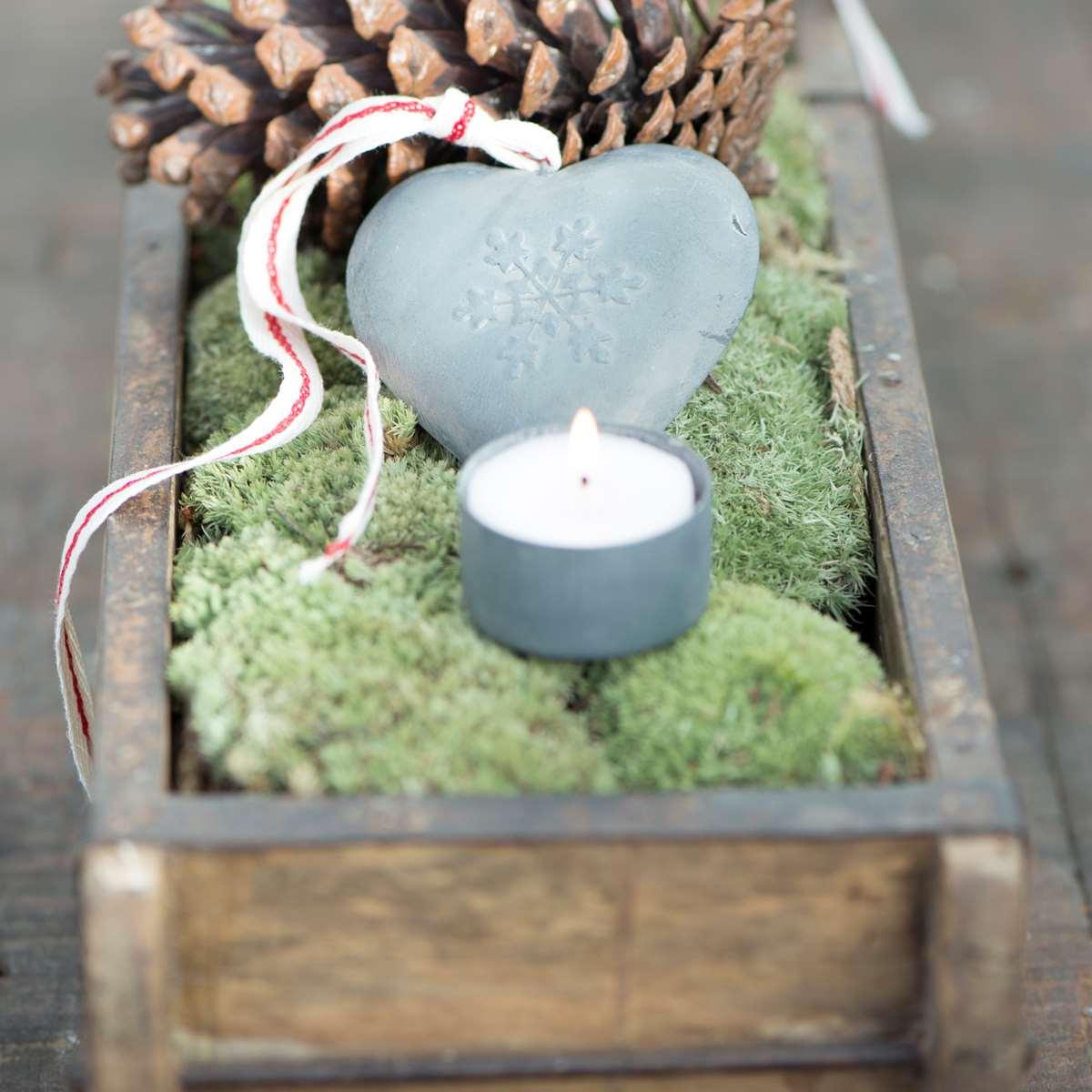 Hjärta med snöflinga zink