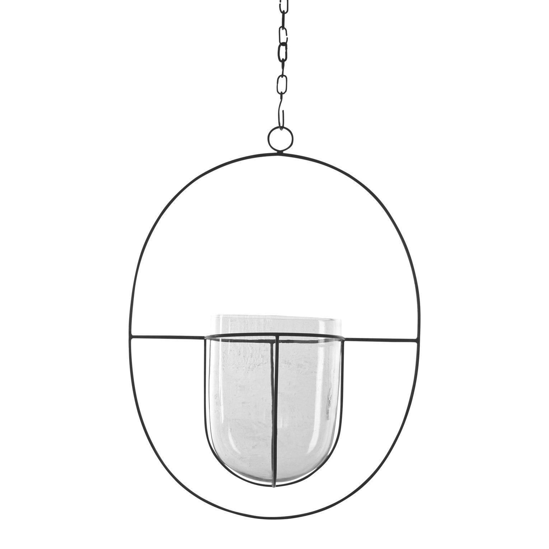 Hängande Glaskruka Cirkel Antik Silver Stor