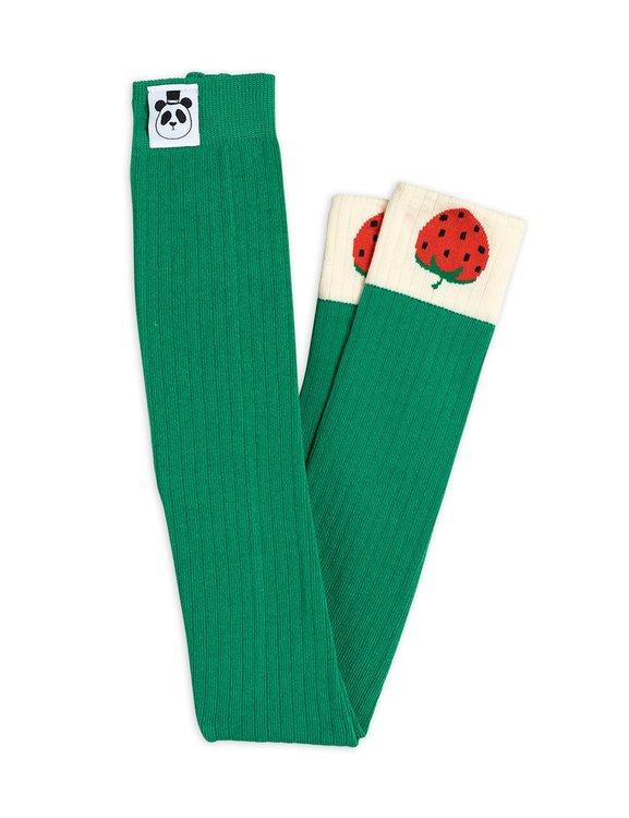 Mini Rodini - Strawberry Ribbade Leggings Grön