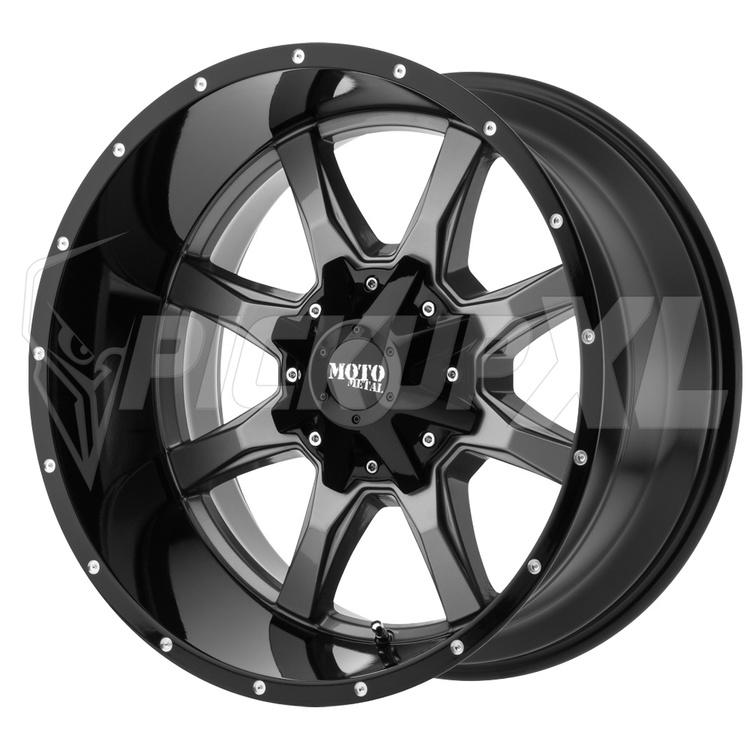 "Moto Metal MO970 Black / Polished Dark 20"" (6-Bult)"