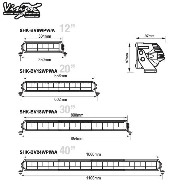 "Vision X Shocker 12"" Dual action - Vit / Orange"
