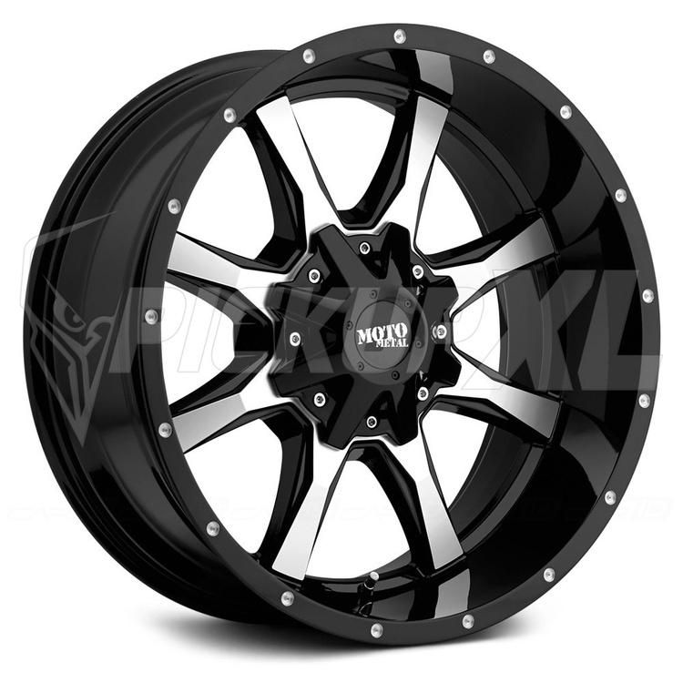 "Moto Metal MO970 Black / Polished 20""  (6-Bult)"