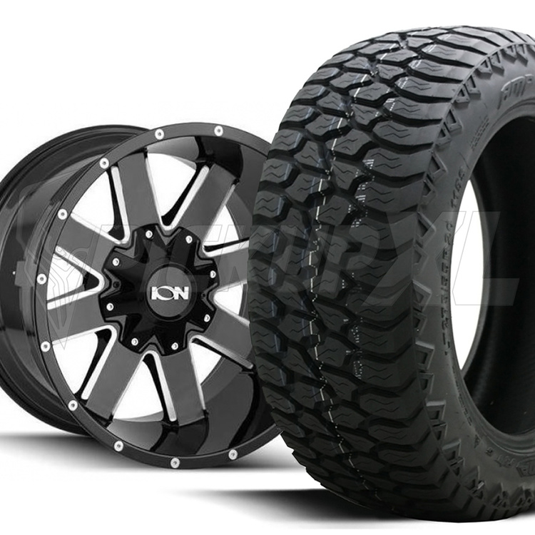 """Däckpaket Ion 141 Gloss Black Milled 20"""" & AMP A/T"""