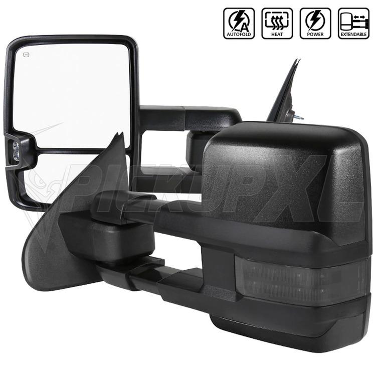 Towing Mirrors, Svart. Smoke-LED, El-fällbara, Defrost. Silverado 2014-2018